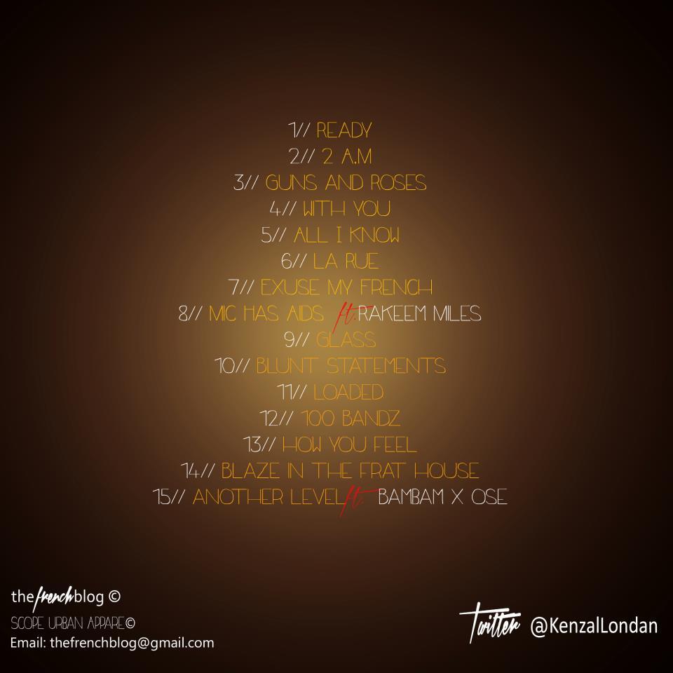 """Kenzal Londan - """" Golden State of Mind """" Ep (back-side tack list)"""